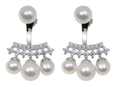 Cluster White Pearl Drop Earrings