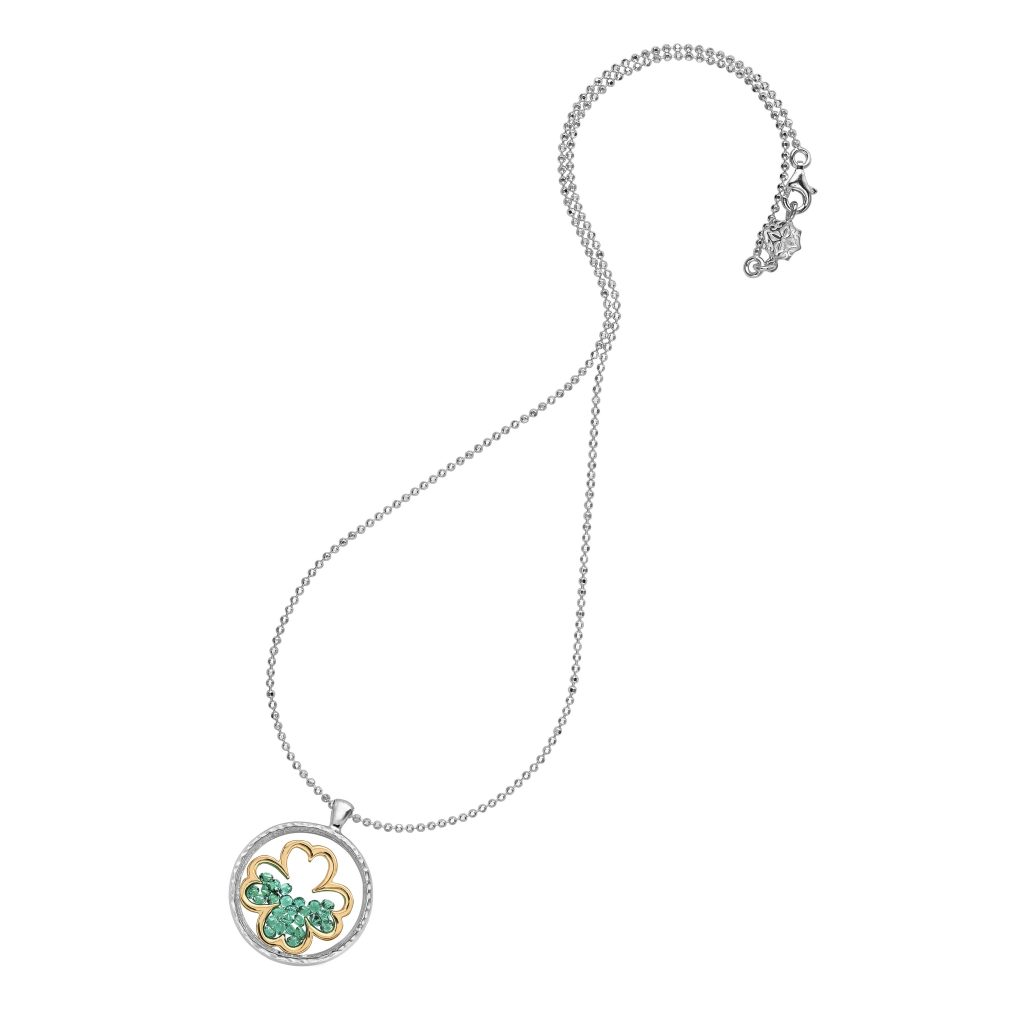 Large 'Sealed with a Kiss' 18ct Gold Vermeil Clover & Green Garnet Pendant by Dower & Hall
