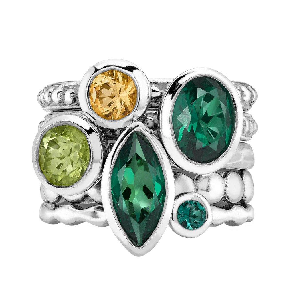 Sterling silver citrine, Green Garnet & Peridot Twinkle ring set by Dower & Hall